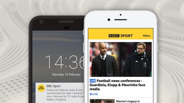 Una imagen que muestra las funciones de la aplicación BBC Sport: notificaciones en una pantalla de inicio y en la página de inicio