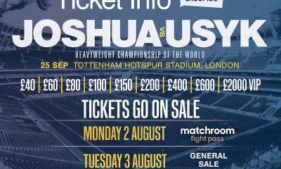 Entradas VIP de Anthony Joshua confirmadas a £ 2000 para el choque de Oleksandr Usyk