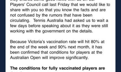 El correo electrónico filtrado sugiere un cambio en las reglas de vacunación del Abierto de Australia