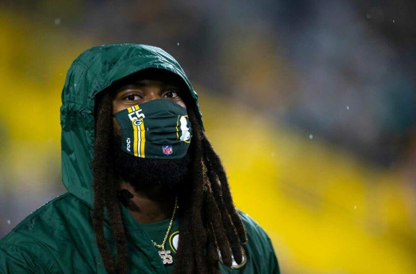 Green Bay Packers fuera del apoyador Za'Darius Smith (55) durante la Noche familiar de los Packers en Lambeau Field, el sábado 7 de agosto de 2021, en Green Bay, Wis. Samantha Madar / USA TODAY NETWORK-Wisconsin Zadarius Mask