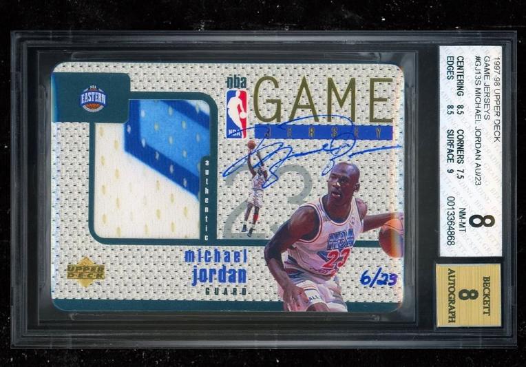 Se vende la tarjeta de parche firmada de Michael Jordan