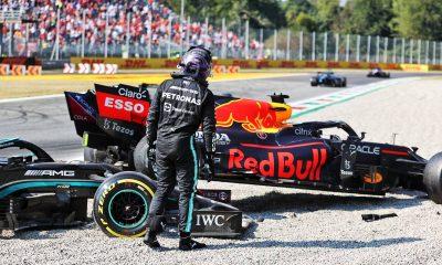 Lewis Hamilton en el lugar de su accidente con Max Verstappen durante el GP de Italia.  Monza, septiembre de 2021.