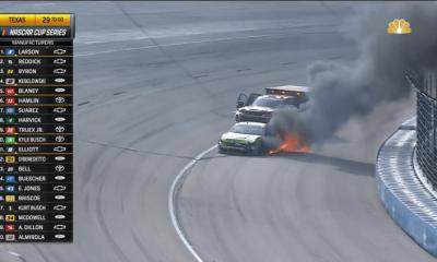 Video: Anthony Alfredo dio la vuelta en Restart Stackup, el No. 38 estalla en llamas en Texas Motor Speedway